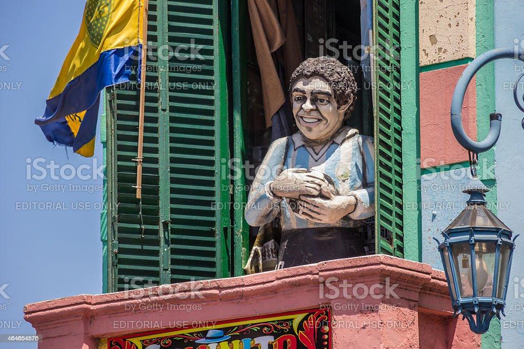 Statue Диего Марадона в Ла Бока в Буэнос-Айресе - Стоковые фото 2015 роялти-фри