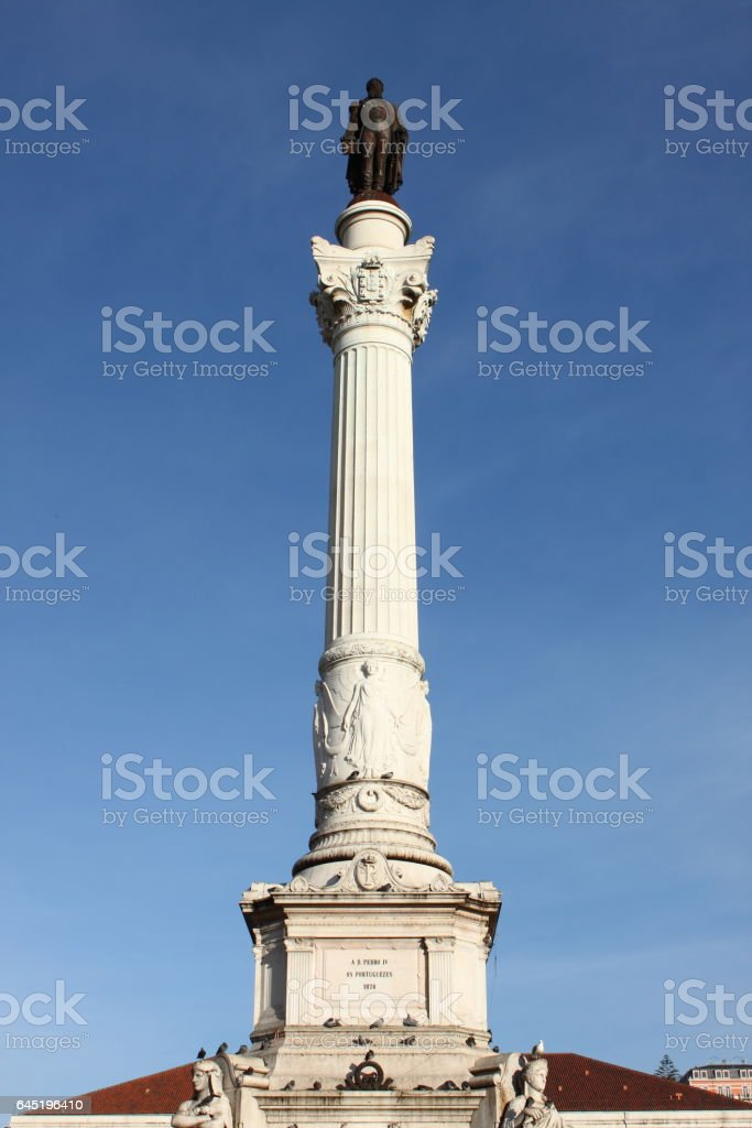 Statue of Dom Pedro IV at Rossio Square in Lisbon stock photo