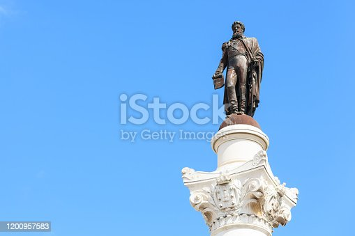 Statue of Don Pedro IV on the Don Pedro square also called Rossio in Lisbon, Portugal
