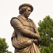 Public statue of Dutch painter Rembrandt at Rembrandtplein, Amsterdam, Holland