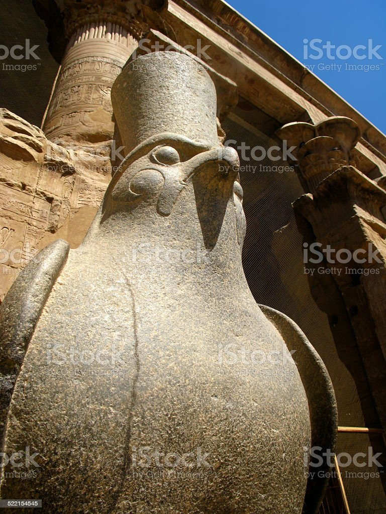 Statue of Egyptian God Horus Inside Edfu Temple, Egypt stock photo