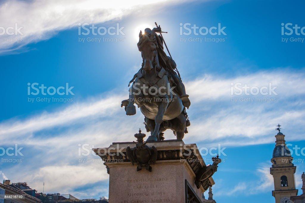 Statue of Emanuele Filiberto di Savoia, Turin, Italy stock photo