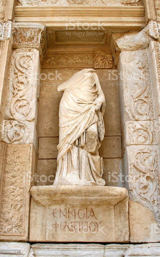 Statue of Ennoia (Intelligence) at the Celsus Library, Ephesus, Turkey royalty-free stock photo