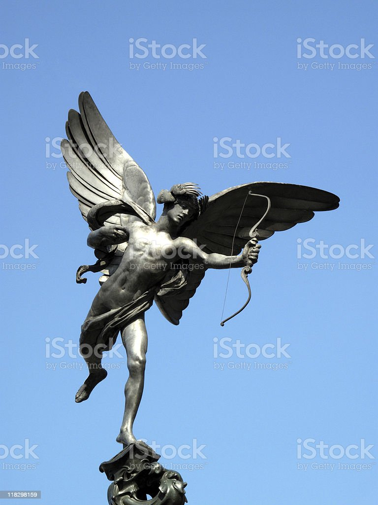 A statue of Eros holding an arrow stock photo