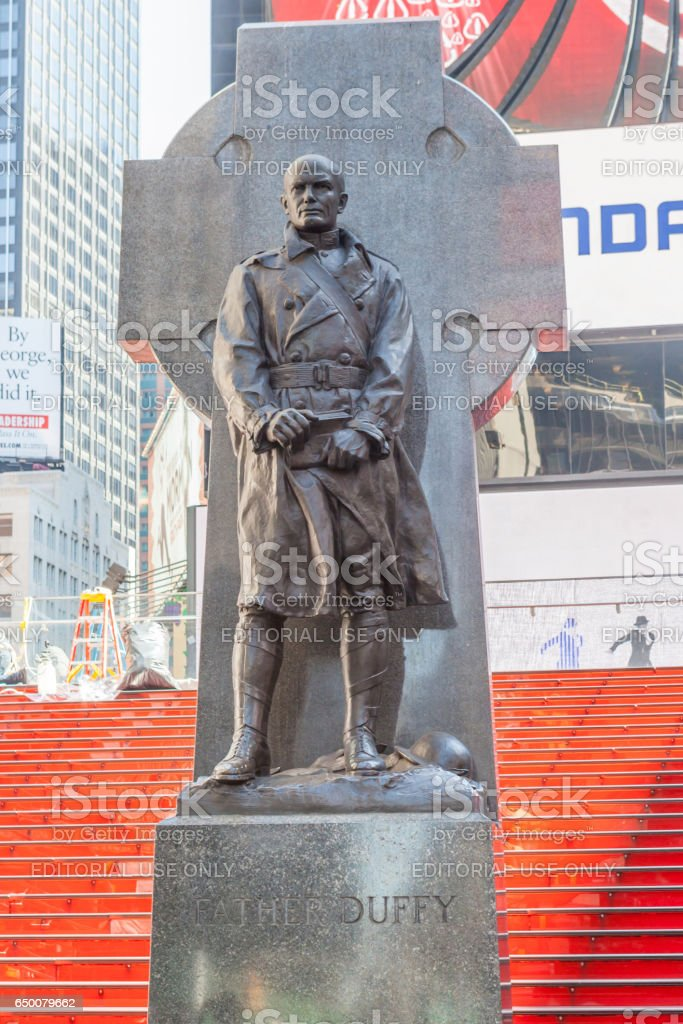 New York City, USA- May 20, 2014. Statue Of Father Francis D. Duffy in Time Square, New York, USA. stock photo