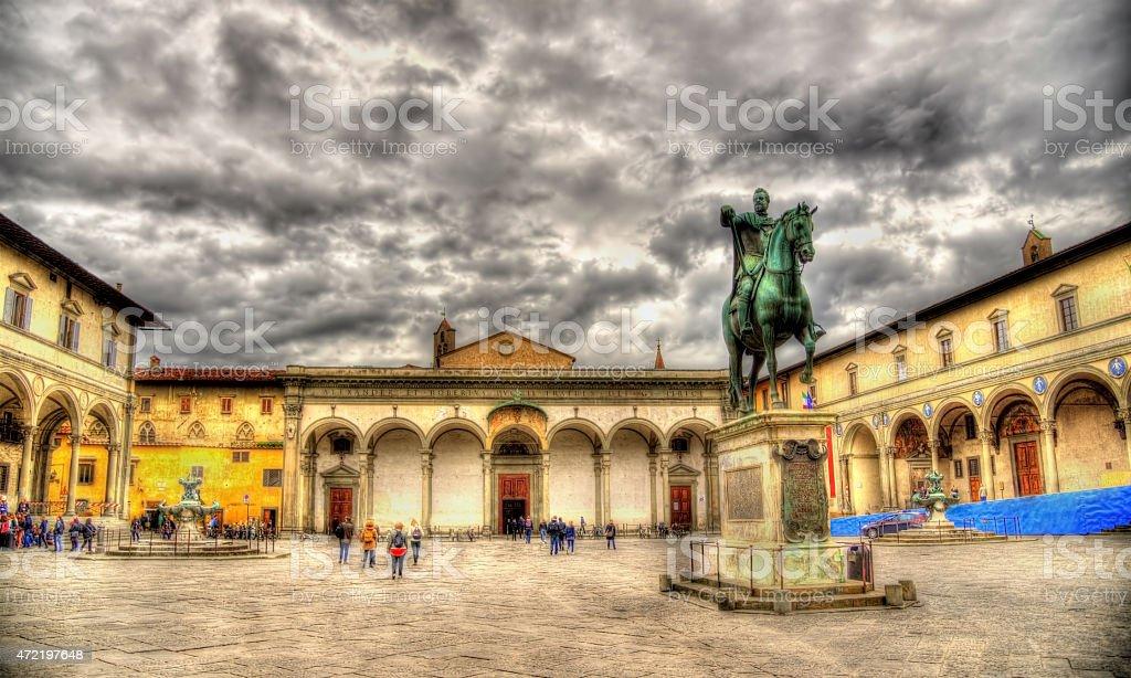 Statue of Ferdinando I de Medici on Santissima Annunziata square stock photo