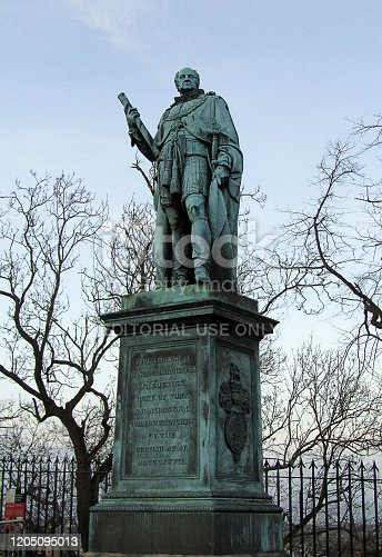 Edinburgh, UK - December 29, 2019: statue of Field Marshal his royal highness Frederick Duke of York and Albany, commander in chief of the British army, at Edinburgh castle esplanade.