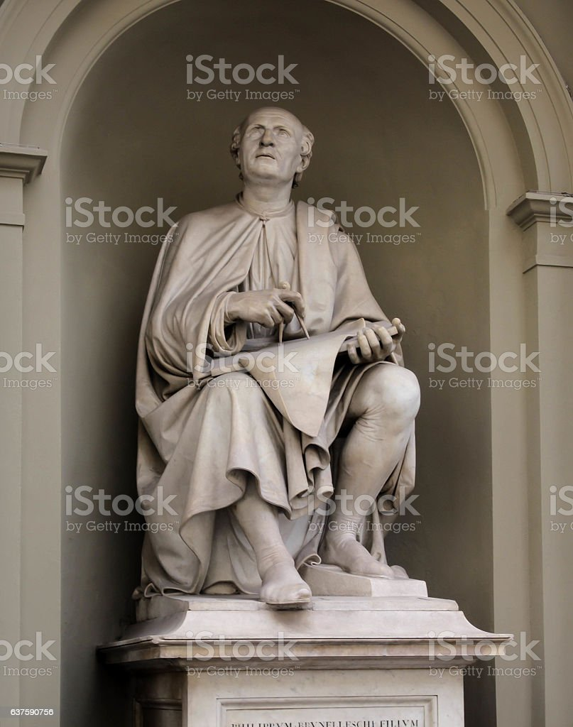 Statue of Filippo Brunelleschi stock photo