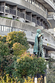 Statue of former Mexican president Benito Juarez stands outside historic Watergate building complex in Washington DC. The building complex is better known for the Watergate Scandal, which lead to president Nixon resignation.