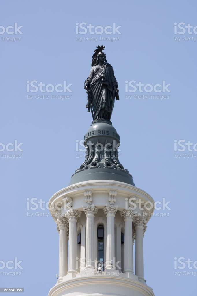 Statue of Freedom Atop US Capitol Building in Washington DC stock photo