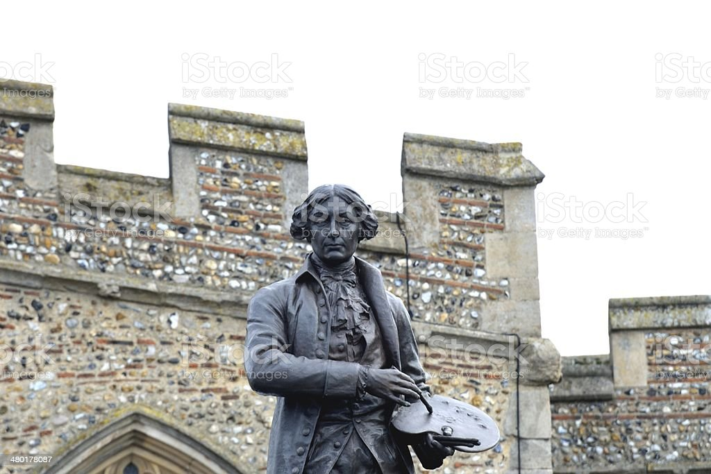 statue of gainsborough with church wal royalty-free stock photo