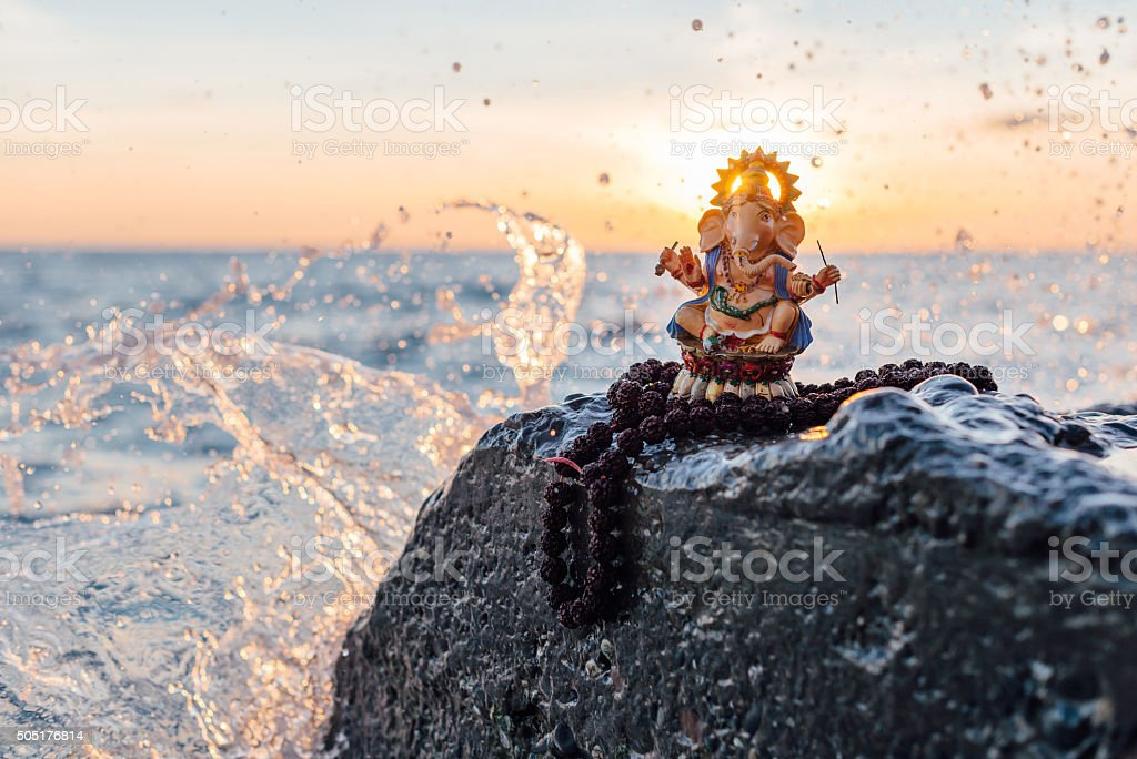 Statue of Ganesh with Rudraksha stock photo