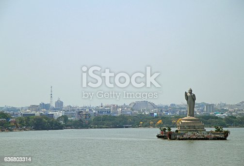 statue of the Gautam Buddha in the middle of the lake Hussain Sagar, Hyderabad, India