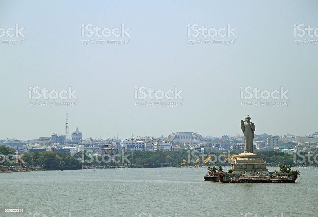 statue of Gautam Buddha in Hyderabad stock photo