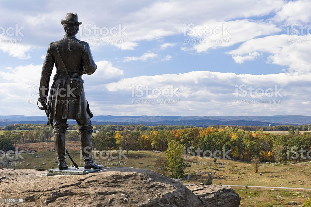 Statue of General Warren at Little Round Top royalty-free stock photo