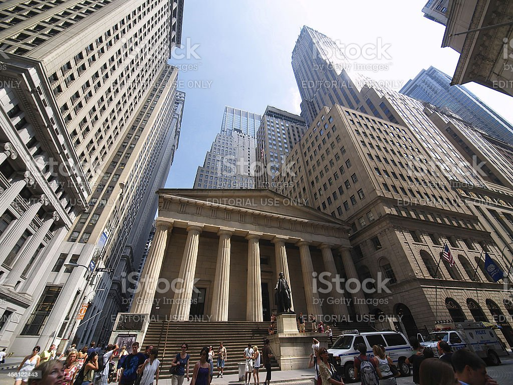 statue of George Washington at Federal Hall stock photo