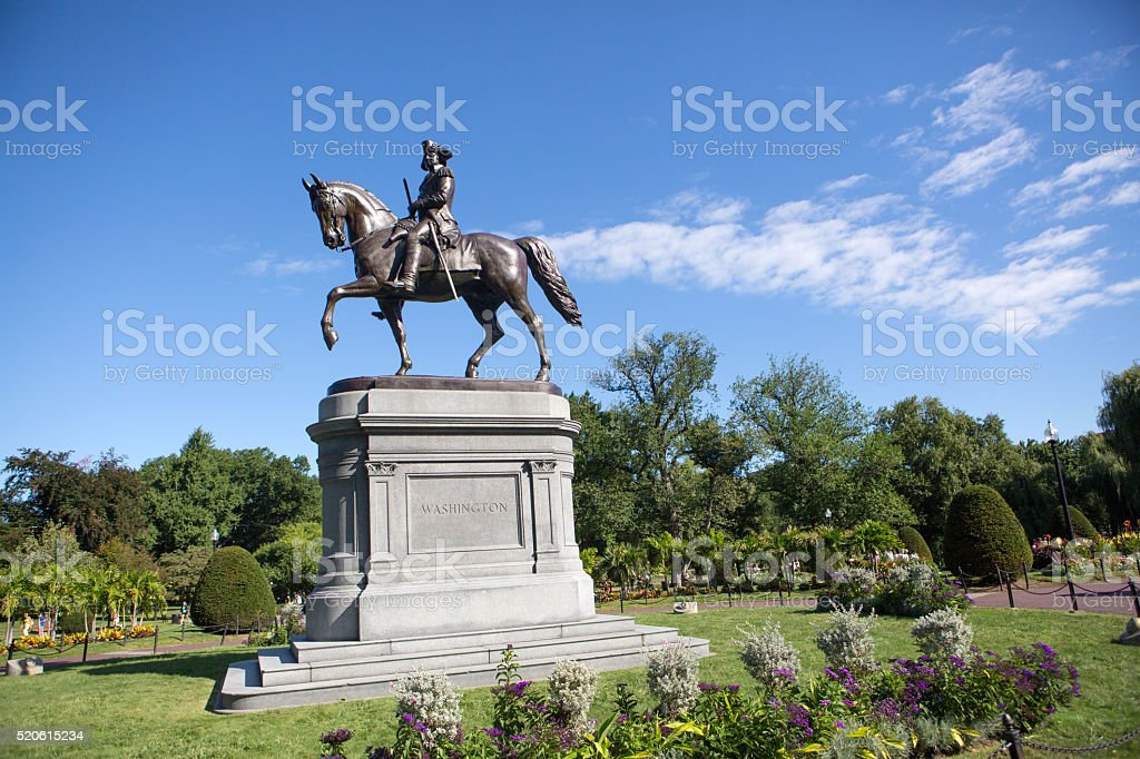 Statue of George Washington, Boston stock photo