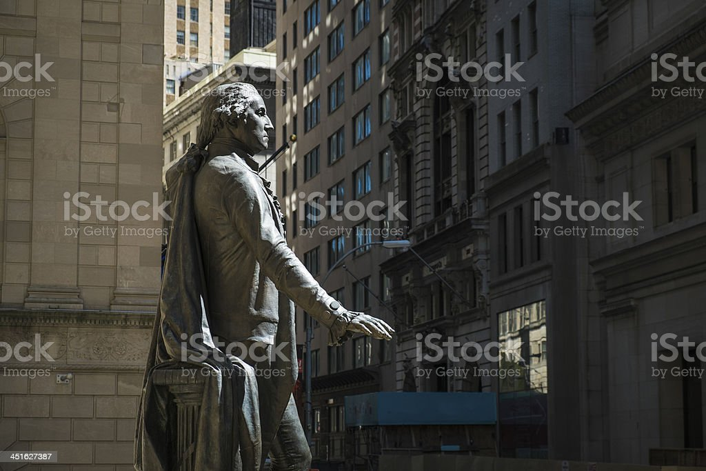 Statue of George Washington, Federal Hall, New York City stock photo