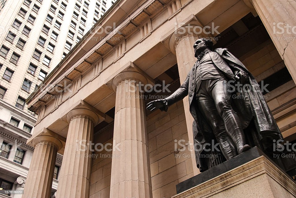 Statue of George Washington outside Federal Hall in New York royalty-free stock photo