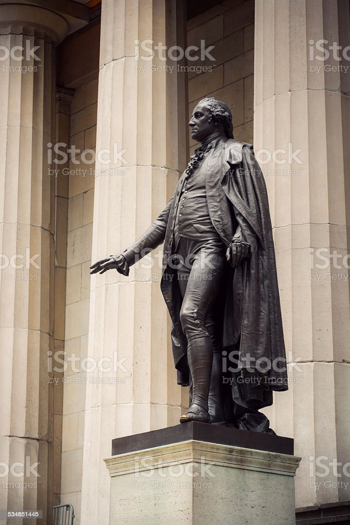 Statue of George Washington outside Federal Hall in New York stock photo