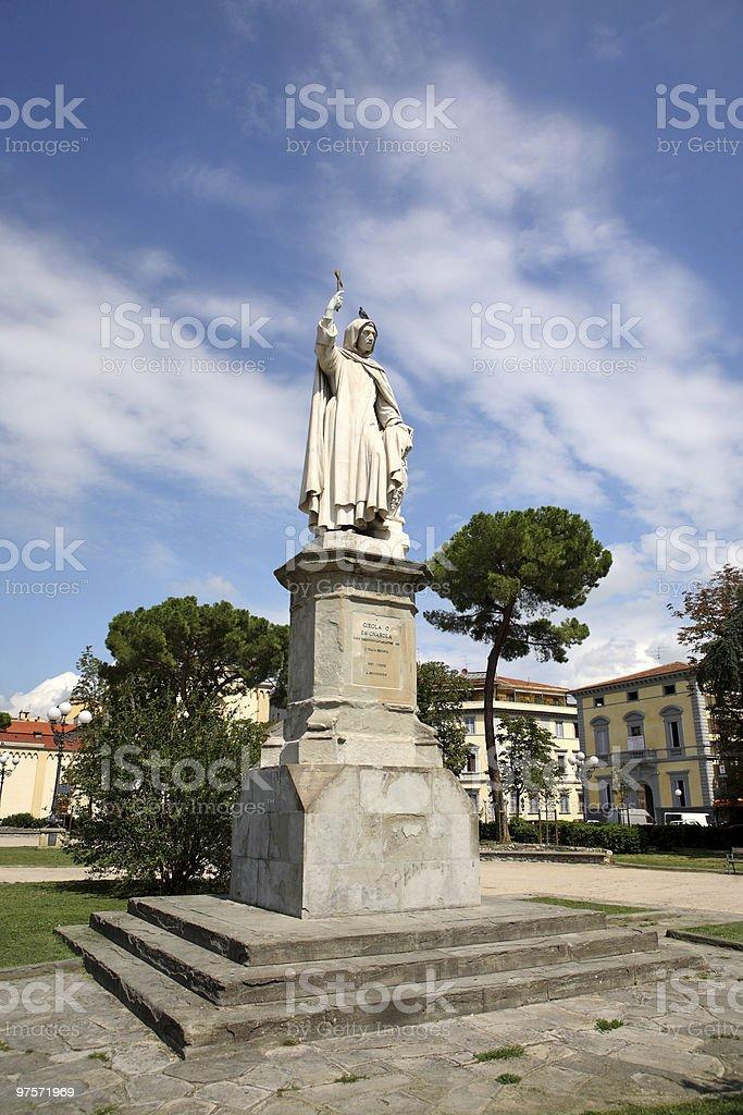 Statue de Girola o Savonarola à Florence Italie photo libre de droits