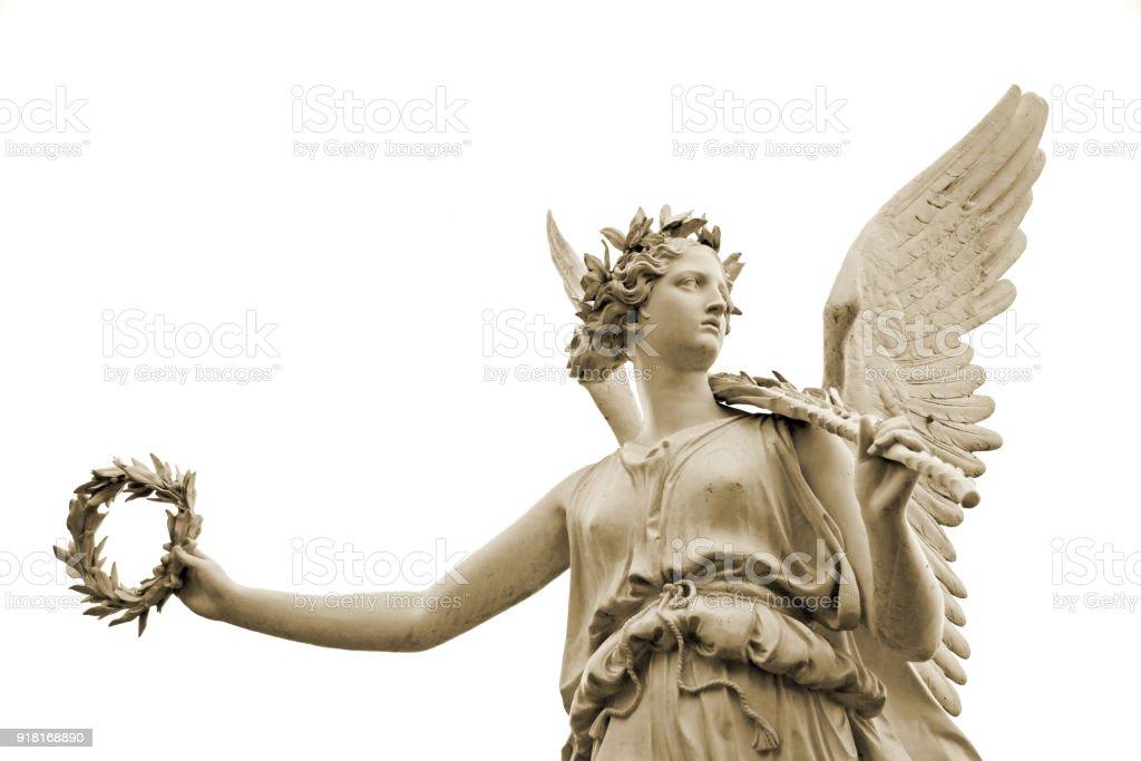 Estátua de Goddes Nike, isolado no fundo branco - foto de acervo