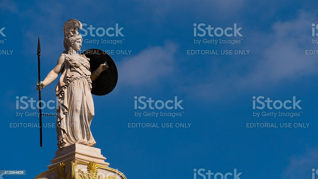 Statue of Goddess Athena in  Athens, Greece - copy space stock photo