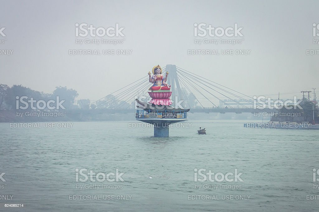 Statue of Goddess Ganga, Haridwar, India stock photo