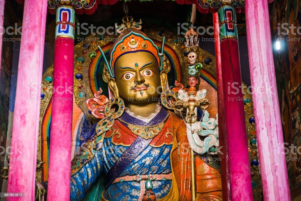 Statue of Guru Padmasambhava. Hemis gompa, Ladakh, India stock photo