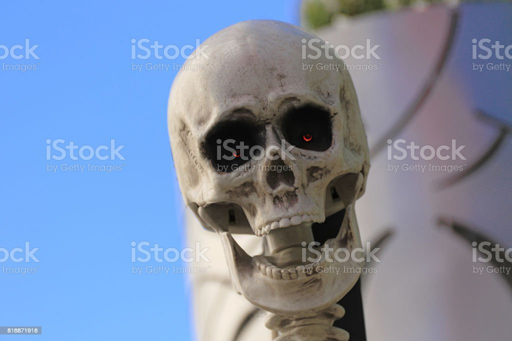 statue of Halloween skull monster. Halloween. Horror nights. stock photo