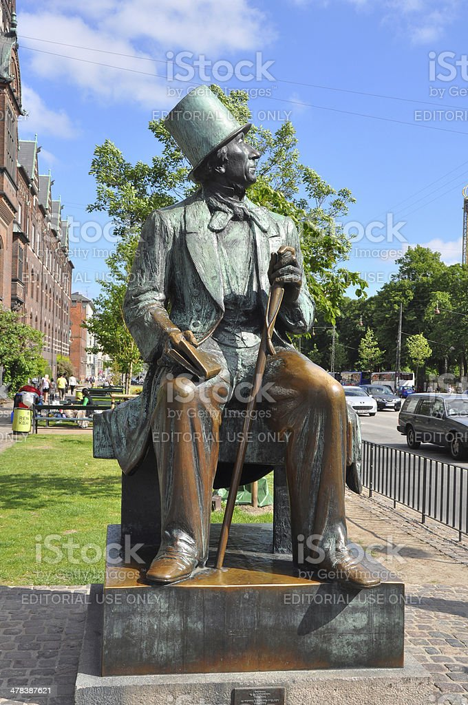 Statue of Hans Christian Andersen in Copenhagen, Denmark royalty-free stock photo