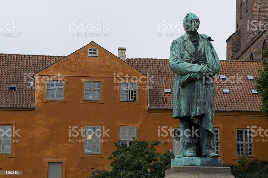 Statue of Hans Christian Andersen in Odense stock photo