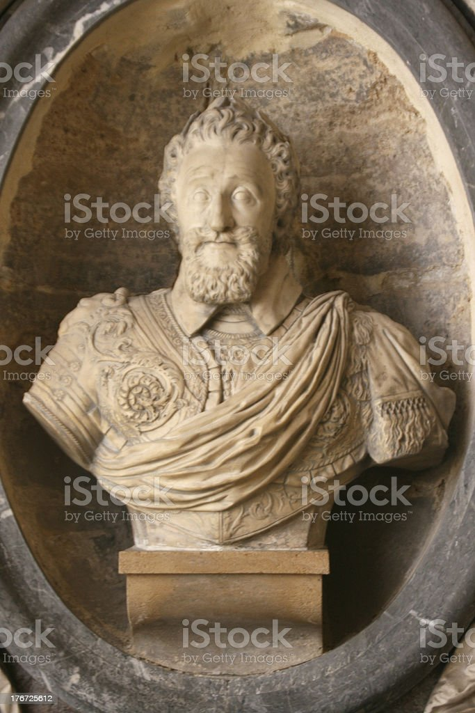 Statue of Henri IV in Saint Denis Basilica Cathedral, France stock photo