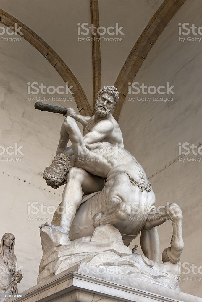 statue of Hercules beating the Centaur Nessus by Giambologna stock photo