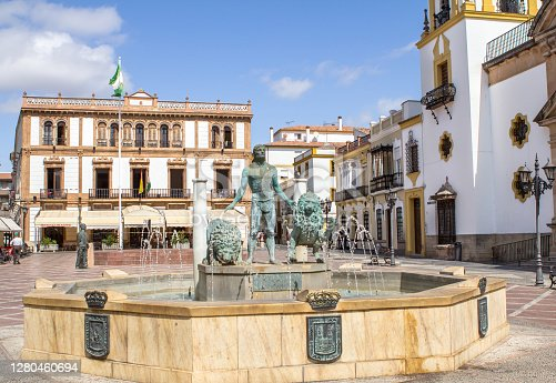Statue of Hercules with two lions in a fountain on the square of Plaza del Socorro, Ronda, Andalucia, Spain