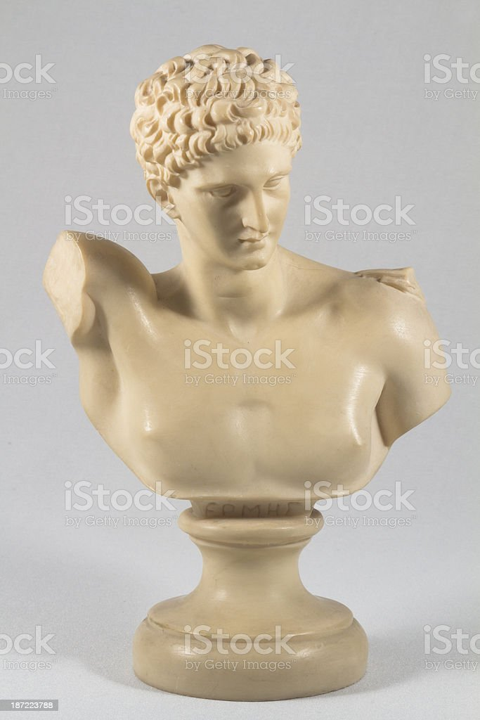 Statue of Hermes, Olympian God With Clipping Path royalty-free stock photo