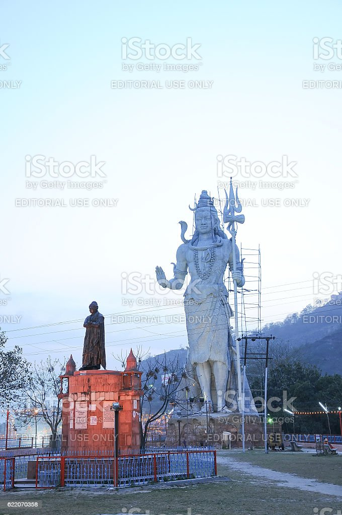Statue of Hindu God Shiva on Gange banks, Haridwar, India stock photo