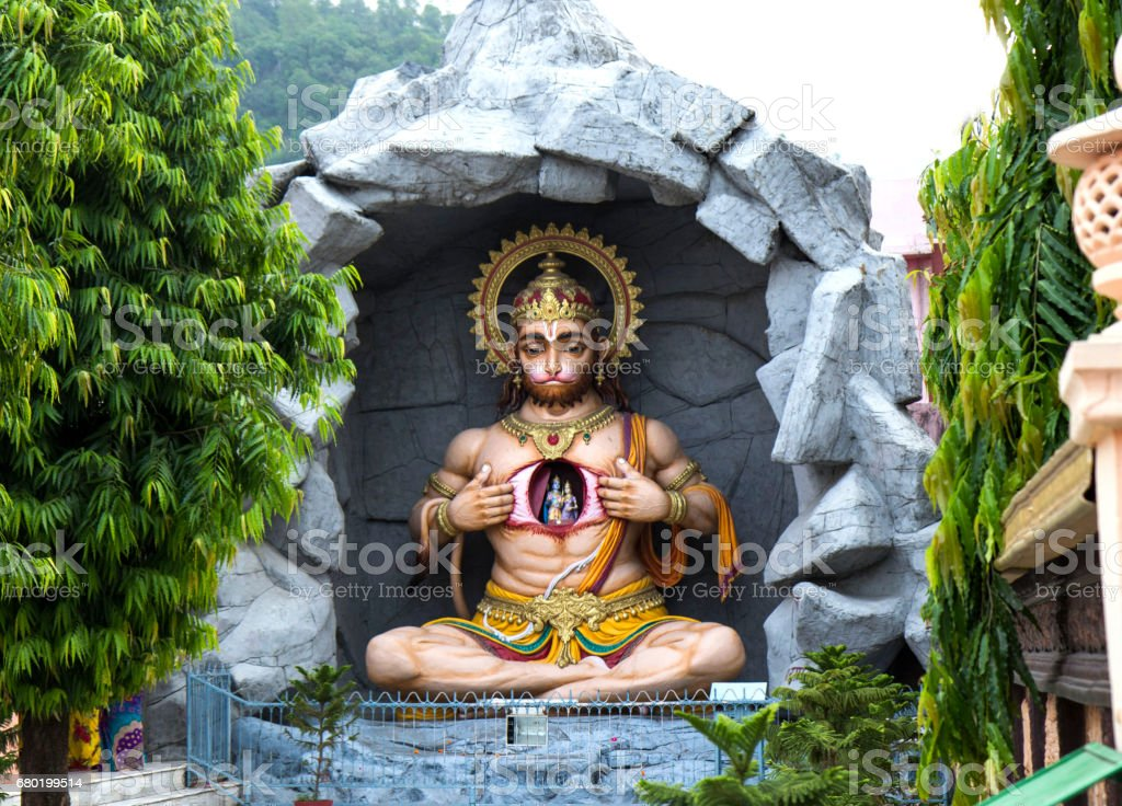 Statue of Hindu Lord Hanuman in Rishikesh. India stock photo