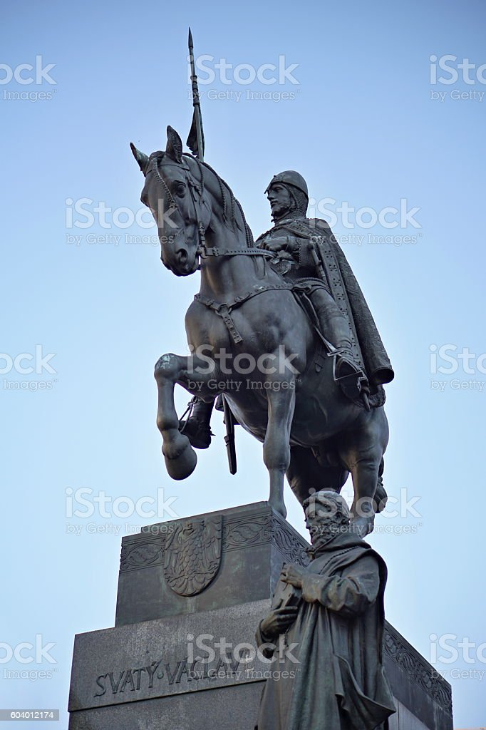 Statue of historical Czech Saint Vaclav sitting on armored horse stock photo