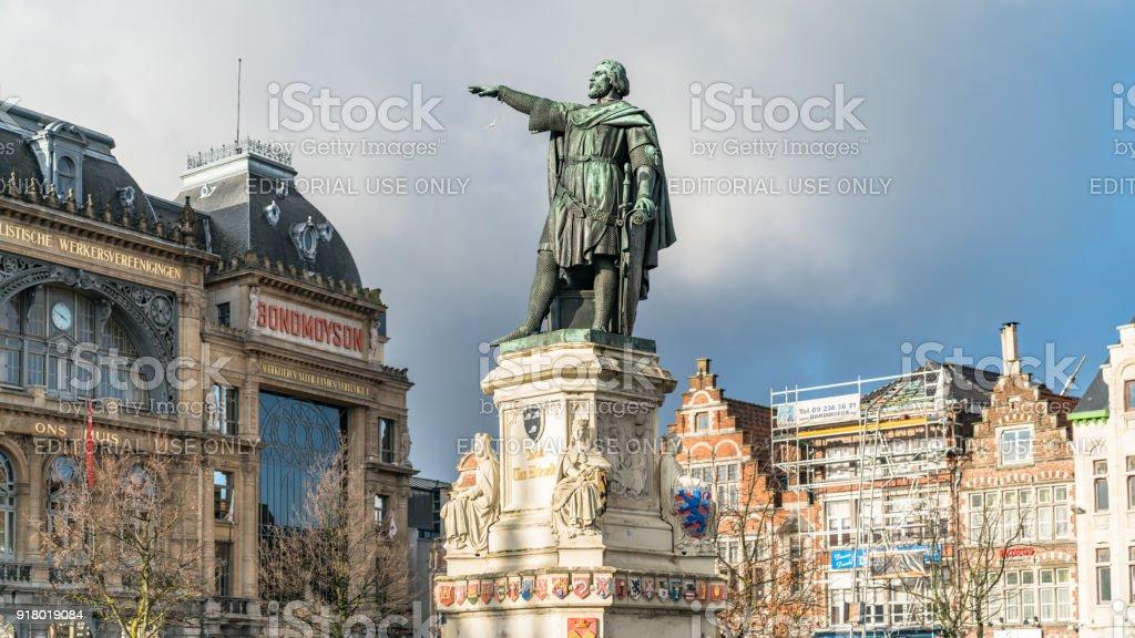 Statue of Jacob van Artevelde in the Vrijdagmarkt square, Ghent, Belgium stock photo