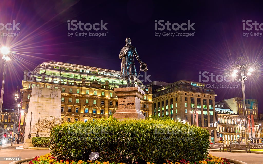 Statue of James Oswald on George Square in Glasgow, Scotland stock photo
