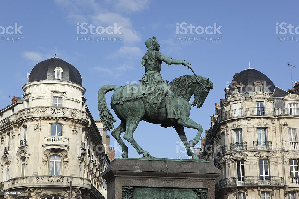 Statue of Jeanne d'Arc in Orléans, france Statue of Saint Joan of Arc in place Martroi, Orléans, France. Architecture Stock Photo