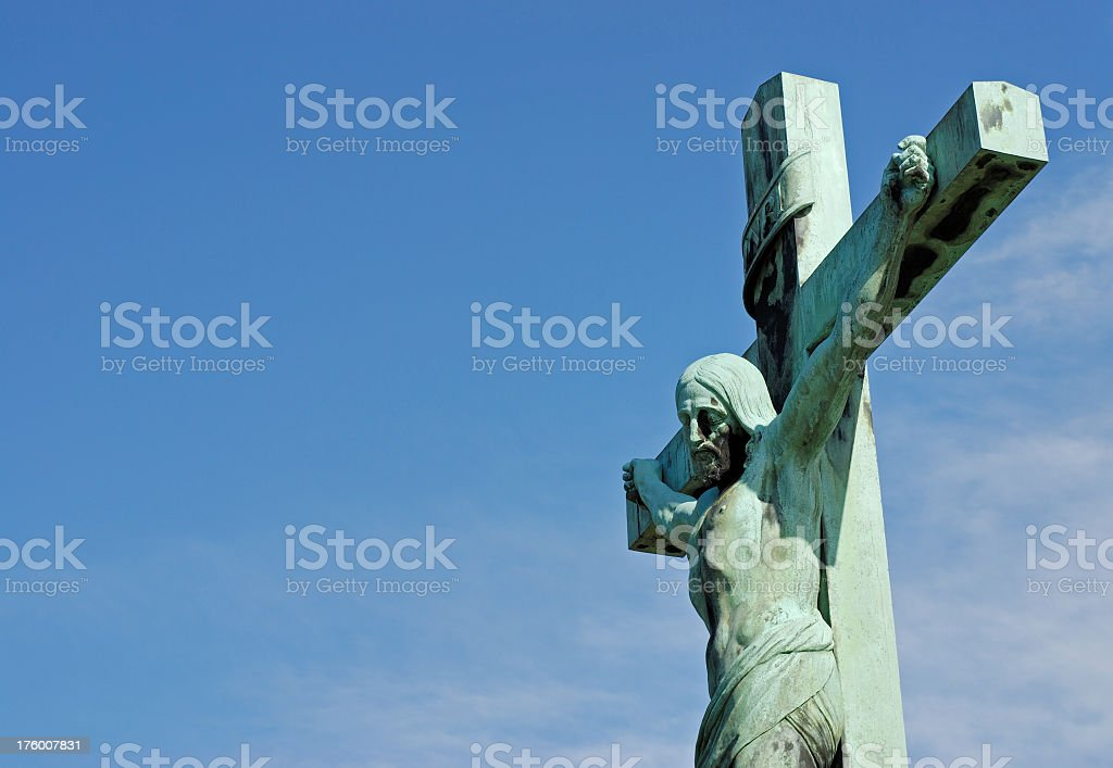 Statue of Jesus christ on the cross royalty-free stock photo