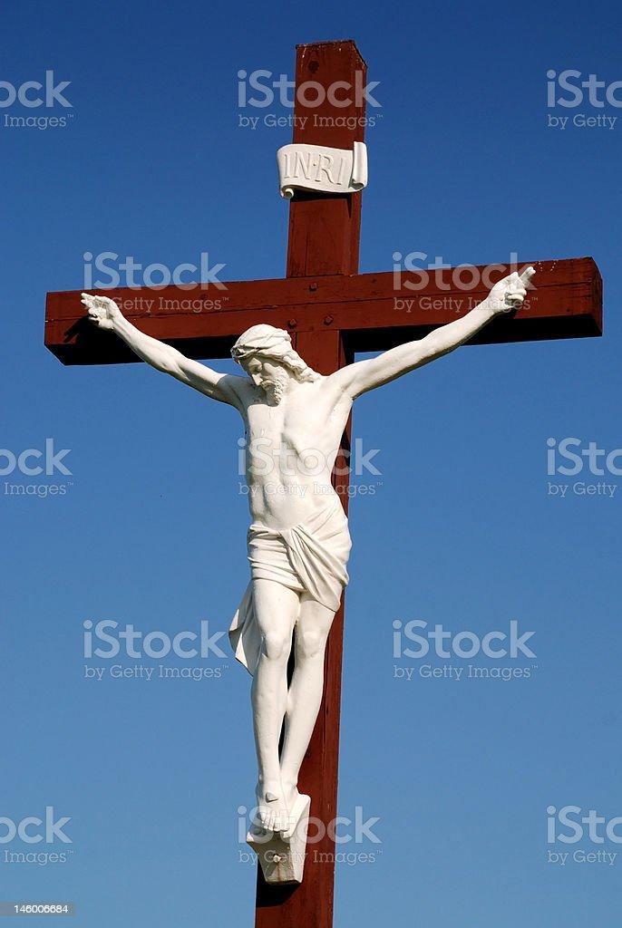 статуя иисуса христа на деревянный крест стоковые