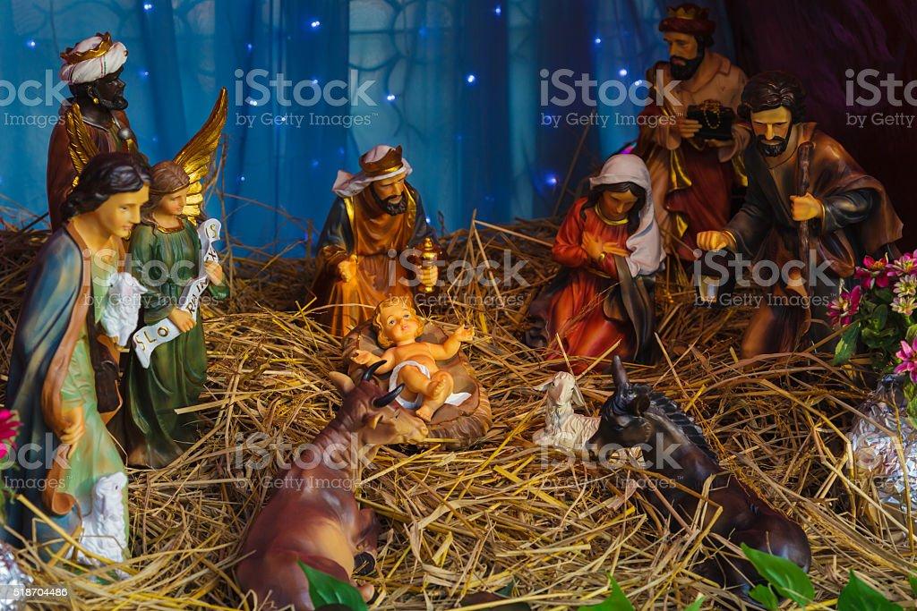 Statue of Jesus in Christmas. stock photo