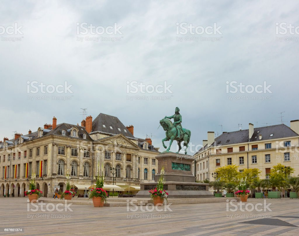 Statue of Joan of Arc (by Denis Foyatier) on Place du Martroi in Orleans, France stock photo