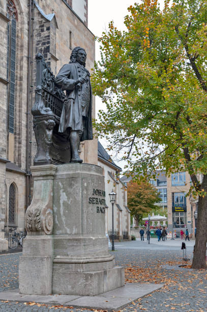 Statue of Johann Sebastian Bach (by German sculptor, Carl Seffner, 1908) located at St Thomas Church in Leipzig, Germany stock photo