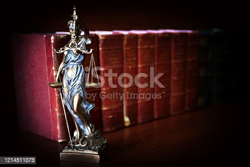 Statue of justice in front of law books - Themis
