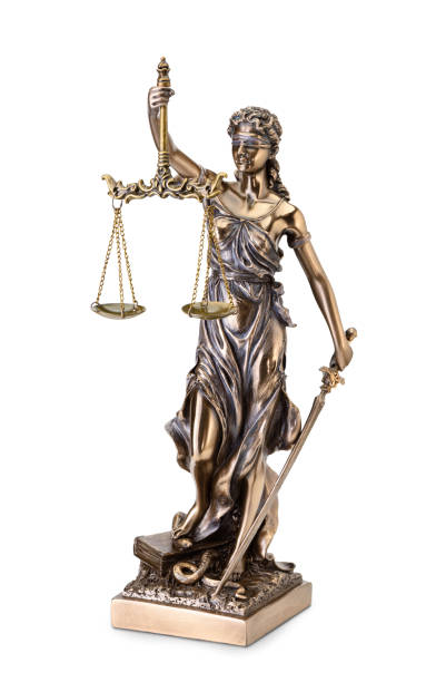 Statue of justice isolated on white background stock photo