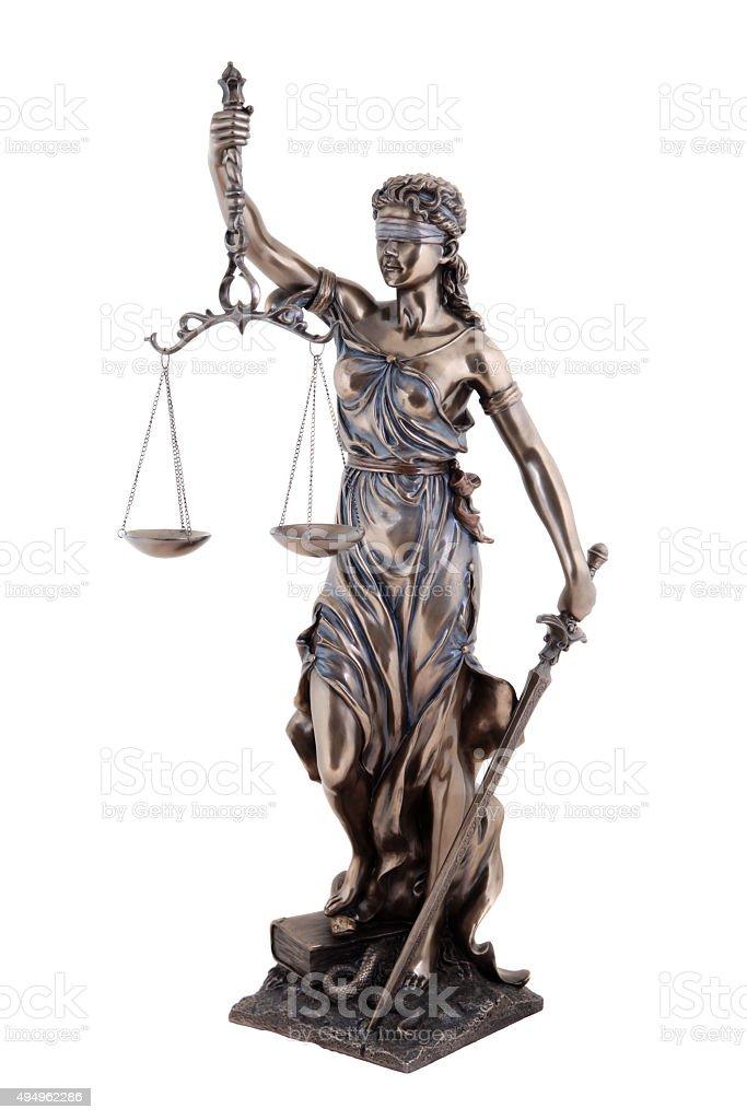 Statue of justice, Themis mythological Greek goddess, isolated stock photo
